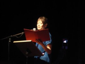 Me reading my work at the SI Leeds Literary Prize ceremony